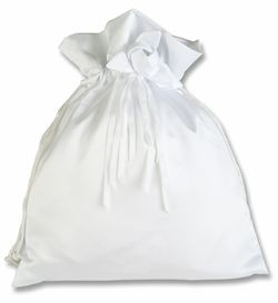 Satin Shoe Dust Bag with Drawstring White