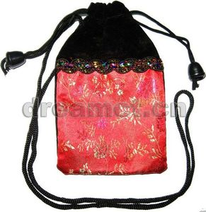 Brocade Gifts Pouch with Hanging Cord Red