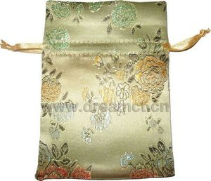 Brocade Drawstring Bag Gold
