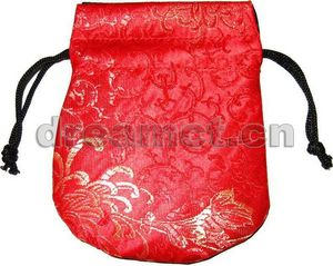 Brocade Pouch w/ Round Bottom Red(1)