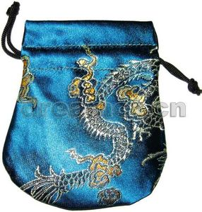 Brocade Pouch w/ Round Bottom Blue
