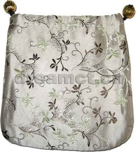 Brocade Jewelry Pouch w/ Round Bottom Silver