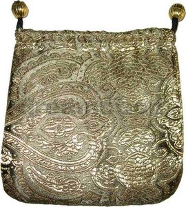 Brocade Jewelry Pouch w/ Round Bottom Olive