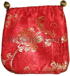 Brocade Jewelry Pouch w/ Round Bottom Red(2)
