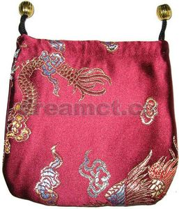 Brocade Jewelry Pouch w/ Round Bottom Burgundy