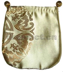 Brocade Jewelry Pouch w/ Round Bottom Golden