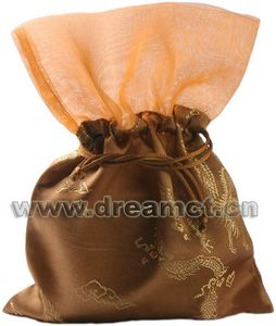 Brocade Bag with Organza Top Brown