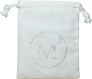 White Canvas Drawstring Bag with Silver Logo