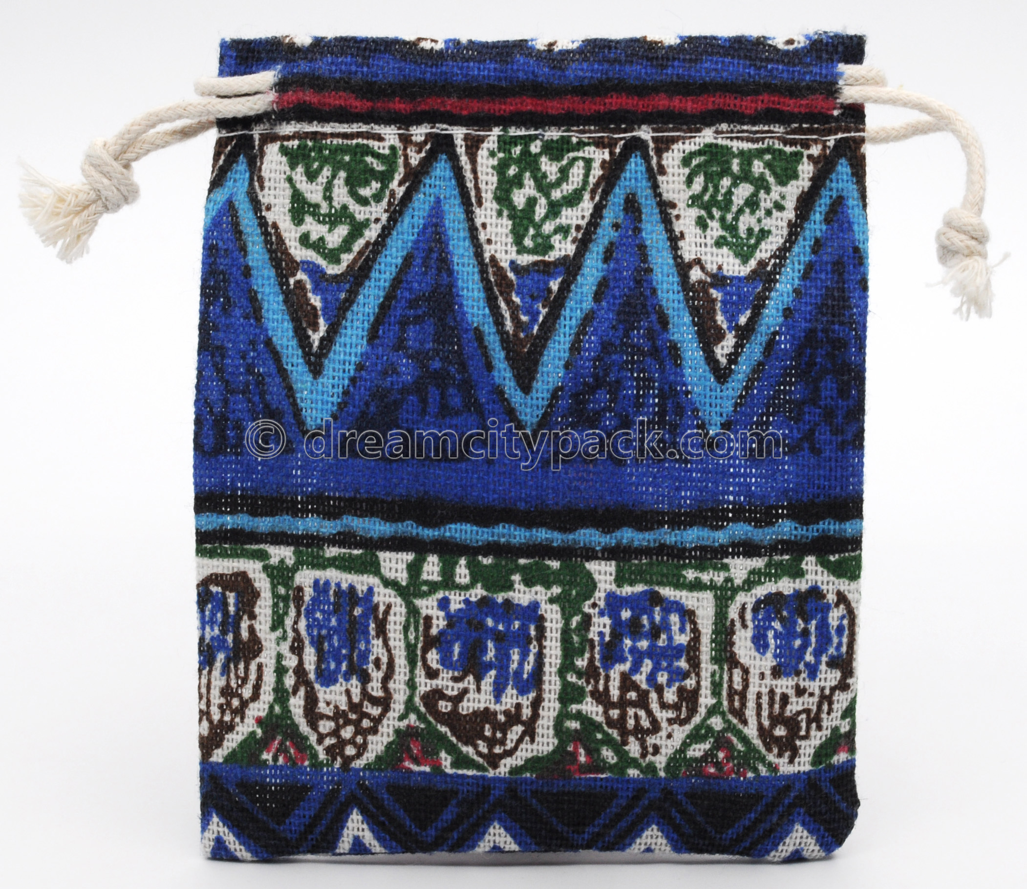 Custom Linen Drawstring Bags Jewellery Pouches with Multicolor All Over Print