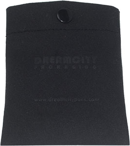 Debossed Velvet Leather Pouch with Press Button in Black
