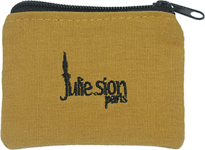 Embroidered Cotton Pouch with Zipper