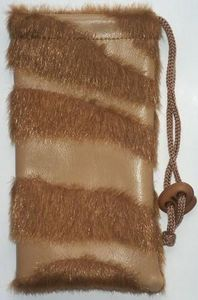 Faux Leather Pouch w/ Fur Brown