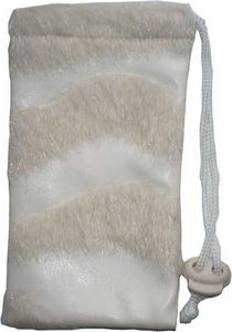Faux Leather Drawstring Pouch with Fur