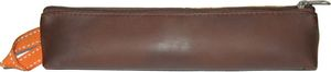 Faux Leather Pencil Bag Brown
