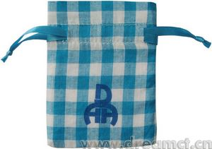Personalised Gingham Cotton Drawstring Bags with Custom Logo