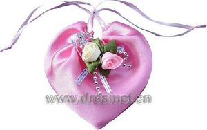 Heart Shaped Satin Wedding Favor Bags with Double Rosettes