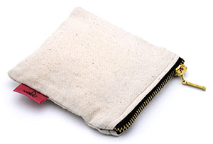 Canvas Zipper Pouch for Jewelry and Makeup with Custom Logo and Metallic Zipper
