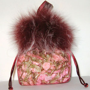 Nylon Mesh Bag w/ Feather Trim and Satin Handle Burgundy