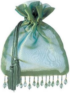 Beaded Organza Bag with Tassels