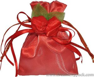 Organza and Satin Bag with Double Rosette Red