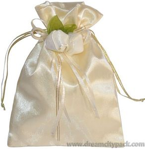 Personalized Organza Wedding Favor Bags with Satin Lining and Double Rosettes