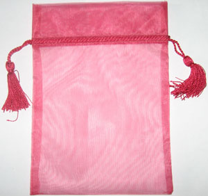 Organza Bag with Tassels Fuchsia
