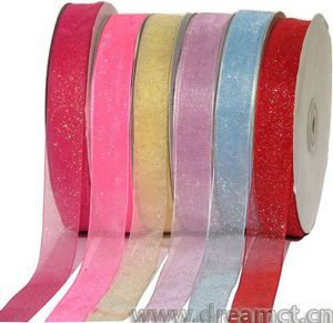 Organza Ribbon with Gold Powder