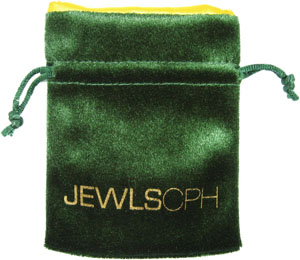 Printed Velvet Pouch with Satin Lining Green