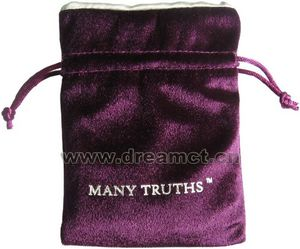 Printed Velvet Pouch with Satin Lining Purple