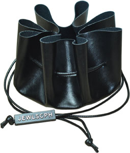 Round Leather Drawstring Jewellery Pouch with Custom Brand