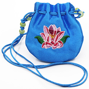 Round Satin Neck Drawstring Bags with Multicolored Custom Embroidery