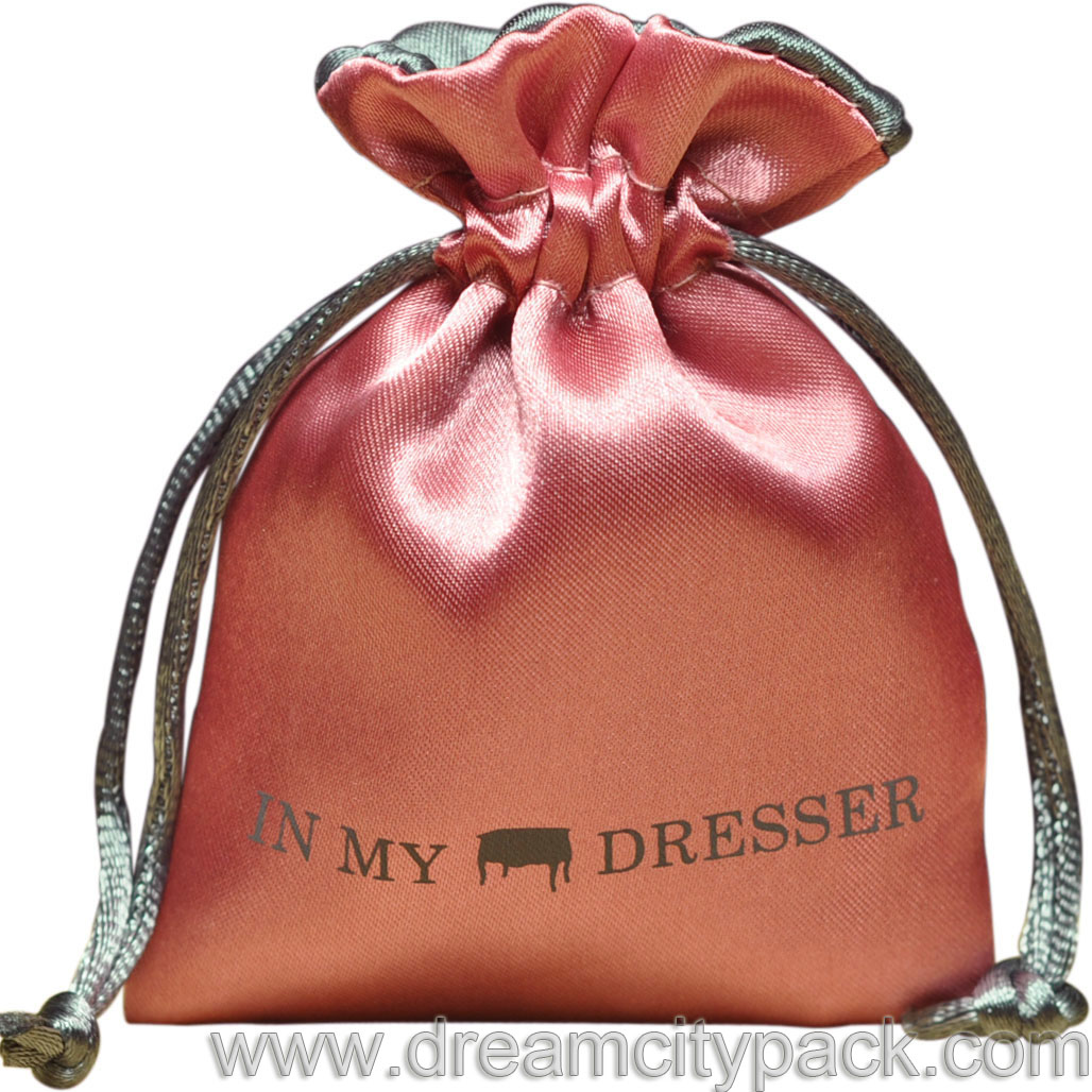 Pink Satin Bag With Grey Lining Rattail Drawstring