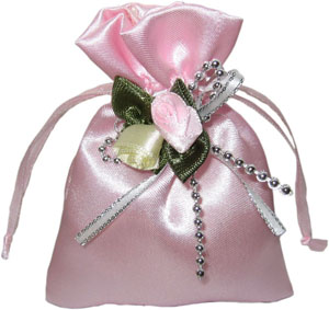 Personalised Satin Bags with Double Rosettes for Wedding Favors