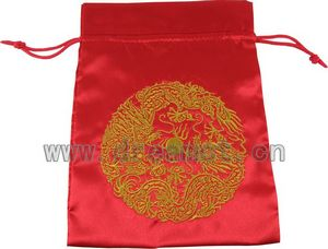 Satin Bag with Gold Embroidery