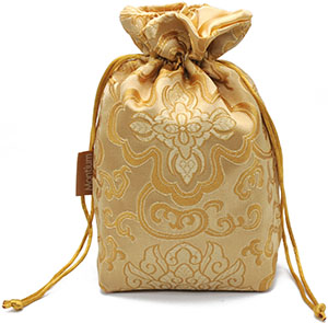 Satin Lined Brocade Bag with Custom Label and Rectangle Base