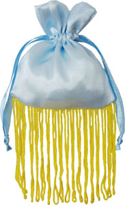 Satin Jewelry Drawstring Pouch with Golden Fringe