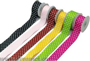 Satin Ribbon with Dotted Print