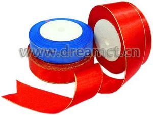 Satin Ribbon with Metallic Trim