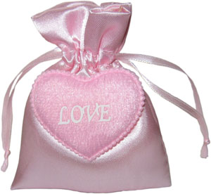 Satin Wedding Favor Bags with Love Heart and Personalised Logo