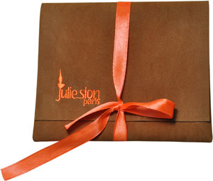 Velvet Envelope with Embroidery and Ribbon
