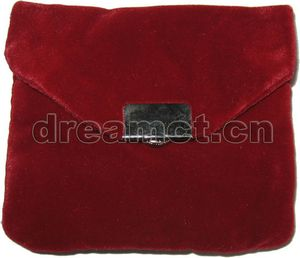 Velvet Jewelry Purse with Snap Burgundy