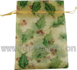Christmas Organza Bag Leaves